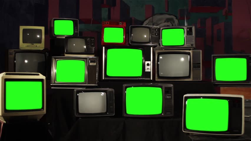 "Nine Old TVs with Green Screen and Stacks of Retro TVs. Zoom In. You can Replace Green Screen with the Footage or Picture you Want with ""Keying"" effect in After Effects (Check out Tutorials). 