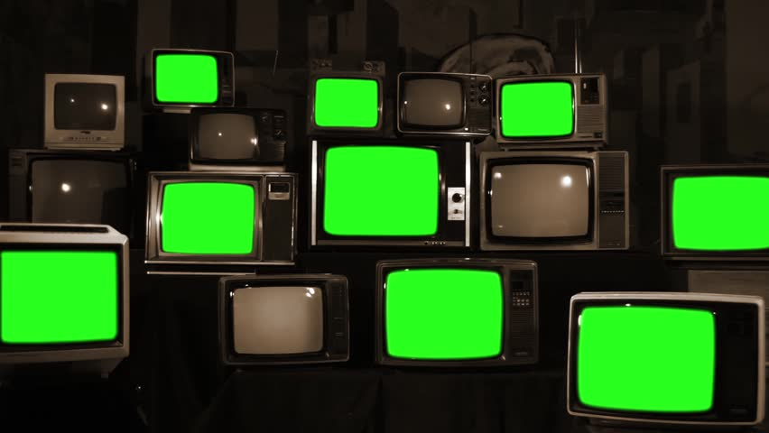 "Nine Old TVs with Green Screen and Stacks of Retro TVs. Sepia Tone. Zoom In. You can Replace Green Screen with the Footage or Picture you Want with ""Keying"" effect in After Effects. 