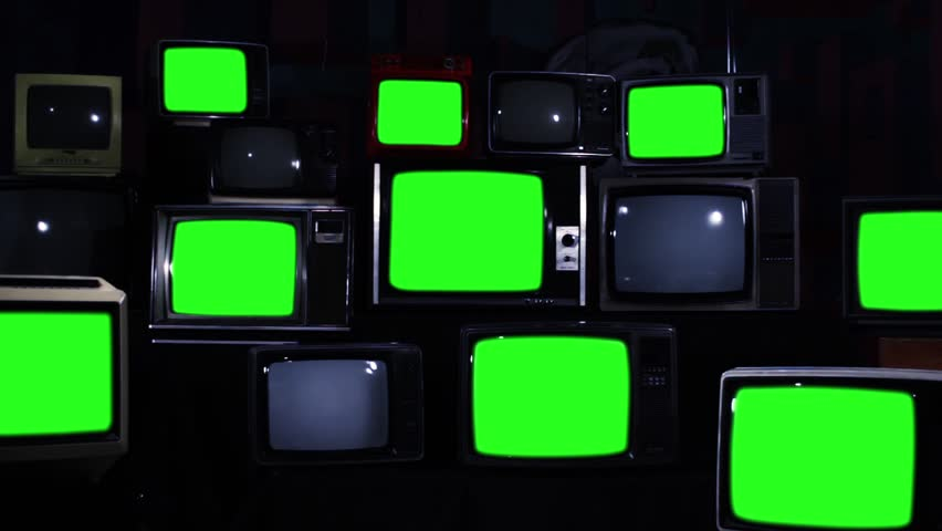 "Retro TVs with Green Screen. Dark Blue Tone. Zoom Out. You can Replace Green Screen with the Footage or Picture you Want with ""Keying"" effect in After Effects (check out tutorials on YouTube).  