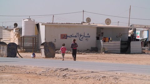 Zaatari, Jordan: October 21 2017: Refugee Camp on the Syrian border for Syrians fleeing the war in Syria which is becoming an established town with shops and restaurants set up by residents