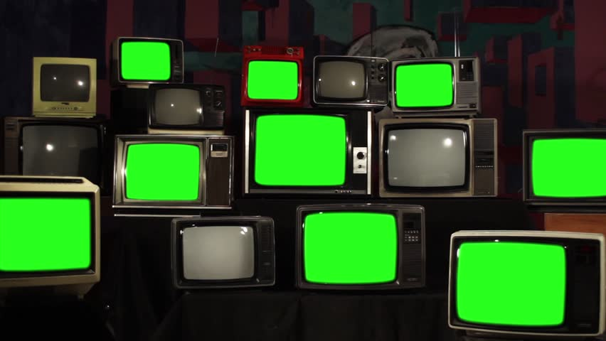 "Retro TVs With Green Screen. Zoom Out. You can Replace Green Screen with the Footage or Picture you Want with ""Keying"" effect in After Effects (check out tutorials on YouTube).  