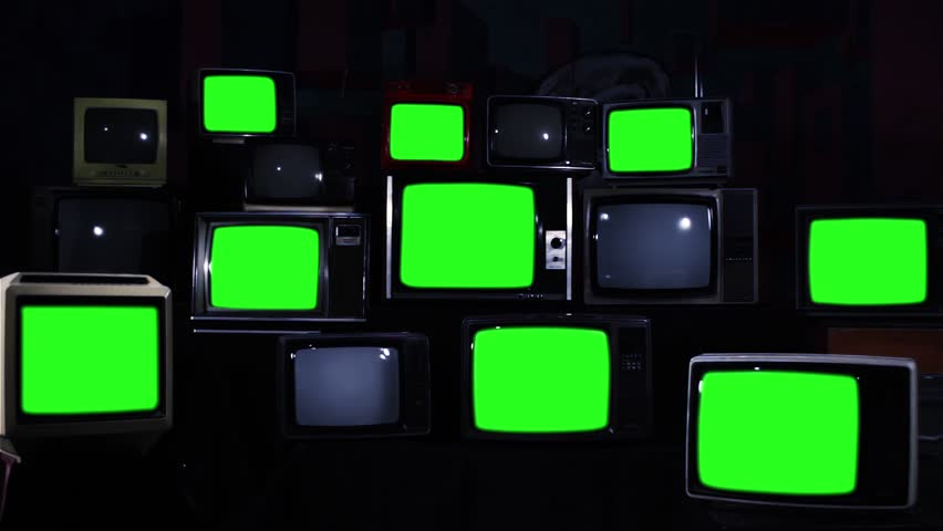 "Old TV Sets with Green Screen. Zoom In. Night Tone. You can Replace Green Screen with the Footage or Picture you Want with ""Keying"" effect in After Effects (check out tutorials on YouTube).  
