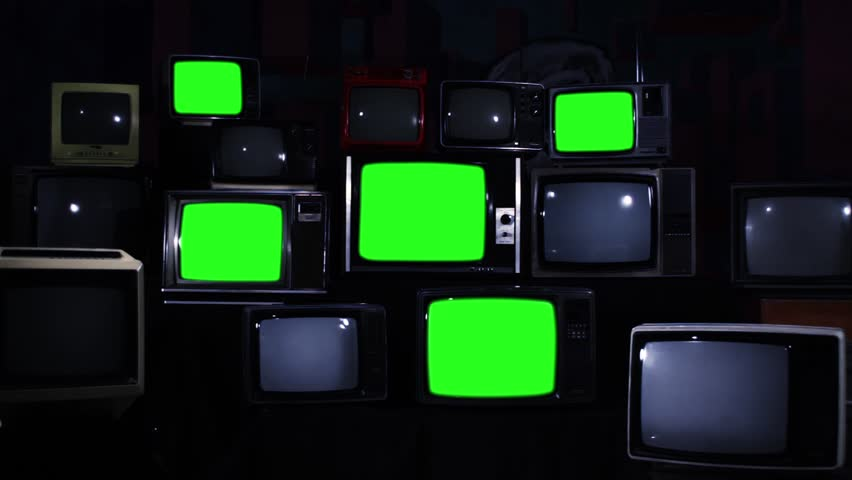 """Nine Old TV Sets Turning Off Green Screens and Stacks of Retro TVs. Zoom Out. Night Tone. You can replace green screen with the footage or picture you want. You can do it with """"Keying"""" effect. 