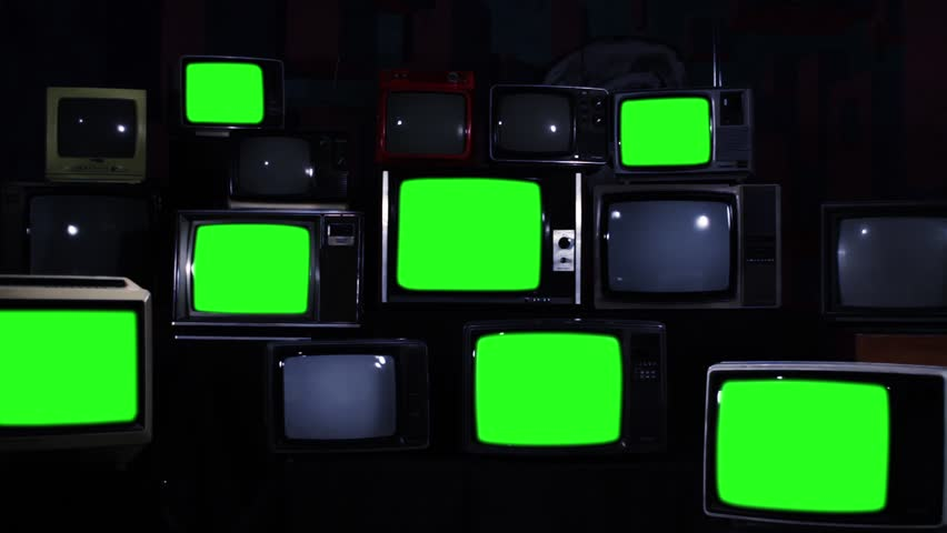 "Nine Old TV Sets Turning On Green Screens and Stacks of Retro TVs. Zoom Out. Night Tone. You can replace green screen with the footage or picture you want. You can do it with ""Keying"" effect. 