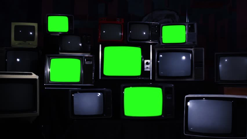 "Nine Old TV Sets Turning Off Green Screens and Stacks of Retro TVs. Zoom In. Night Tone. You can replace green screen with the footage or picture you want. You can do it with ""Keying"" effect. 
