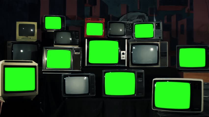 "Multiple Retro TVs turning on Green Screens. Iron Tone. You can replace green screen with the footage or picture you want. You can do it with ""Keying"" effect in After Effects. 