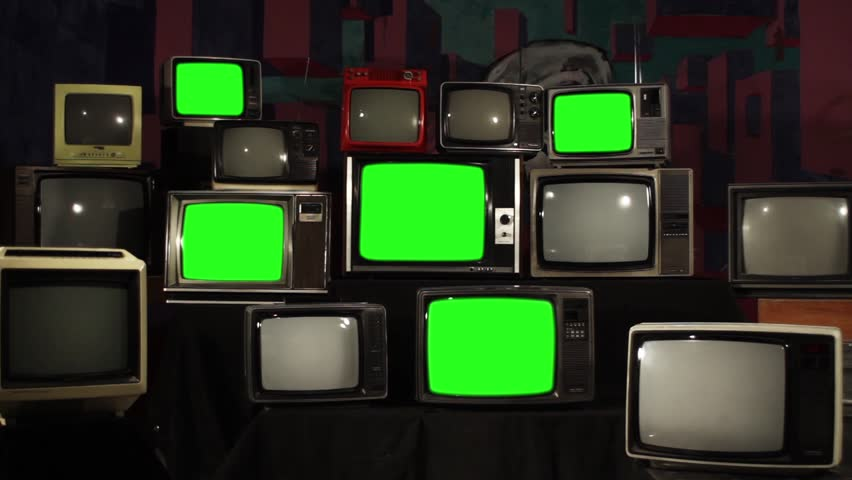 "Multiple Retro TVs switching off Green Screens. Zoom Out. You can replace green screen with the footage or picture you want. You can do it with ""Keying"" effect in After Effects. 