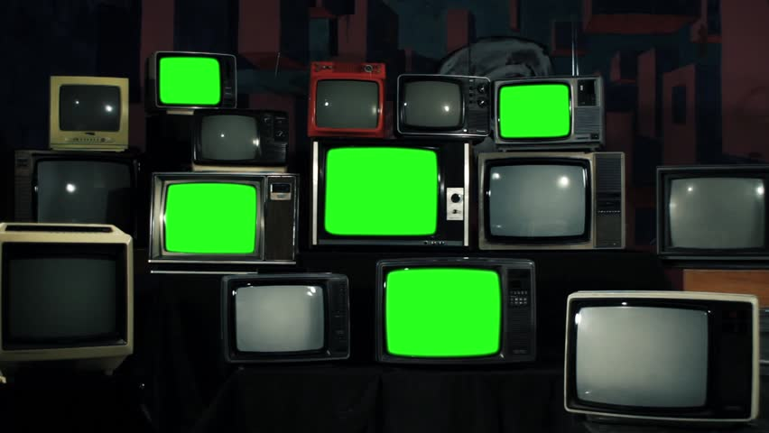 """Retro TVs Turning Off Green Screens. Iron Tone. Zoom Out. You can Replace Green Screen with the Footage or Picture you Want with """"Keying"""" effect in AE or any other software (check out tutorials).  