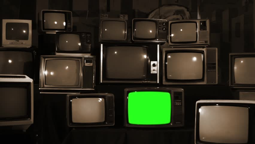 "Retro TVs turning on Green Screens. Sepia Tone. Zoom Out. You can Replace Green Screen with the Footage or Picture you Want with ""Keying"" effect in AE or any other software (check out tutorials).  