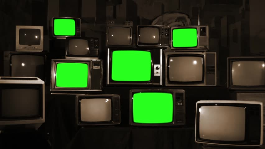 "Retro TVs turning off Green Screens. Sepia Tone. Zoom Out. You can Replace Green Screen with the Footage or Picture you Want with ""Keying"" effect in AE or any other software (check out tutorials).  