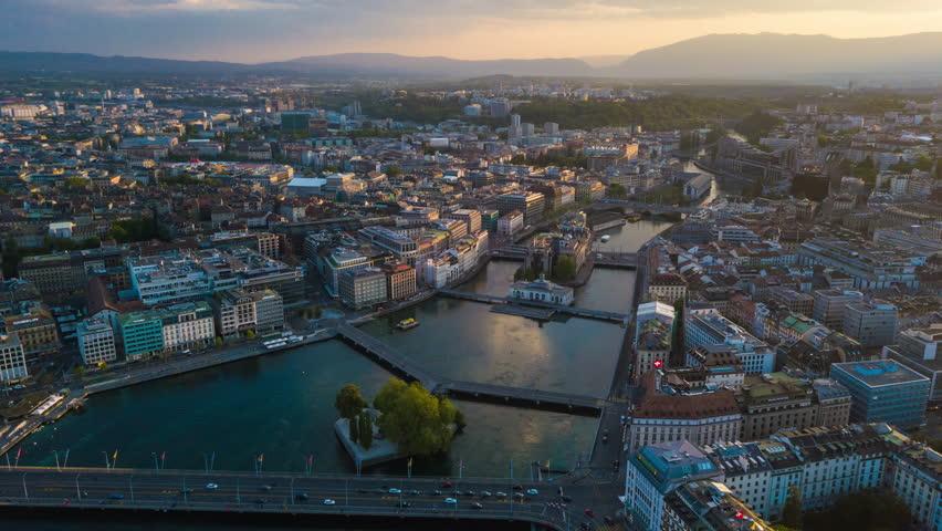 Sunset sky geneva lake cityscape aerial panorama 4k timelapse switzerland
