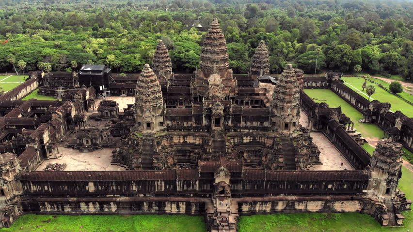 Angkor Wat temple, Siem Reap, Cambodia, aerial view.