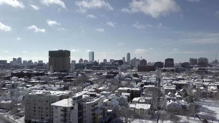 4K UHD Aerial Shot of Boston Skyline