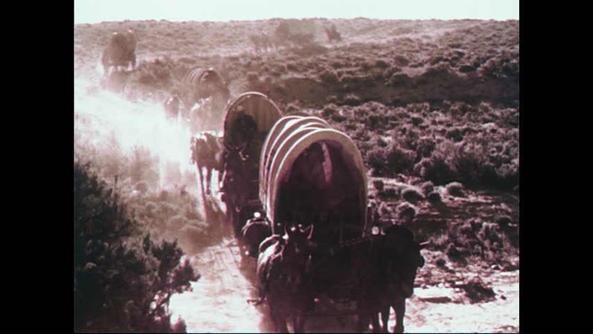 1950s: Train of wagons in desert. Man on horseback. Low angle view of man with gun. People socializing by wagons. View of man. Tracking shot of boy walking next to wagon.