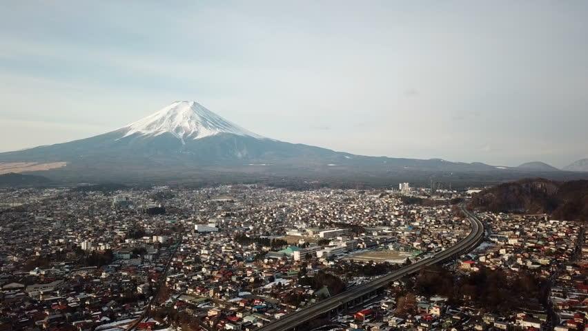 Aerial view of Fuji Mountain,Kawaguchiko,Fujiyoshida,Japan | Shutterstock HD Video #1012136747