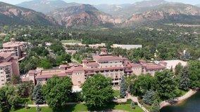 Aerial Drone View of The Broadmoor Hotel in Colorado Springs CO