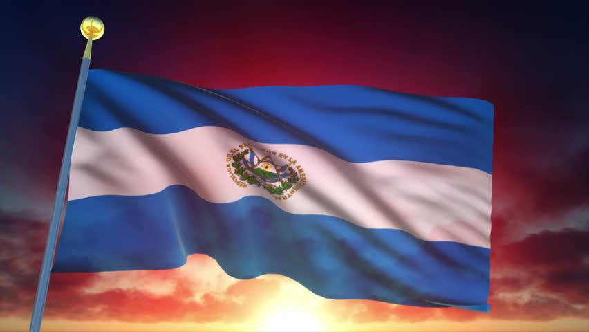 Salvador Flag at Sunset - 25 fps - Loop Animation | Shutterstock HD Video #1012157762