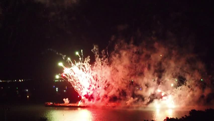 Firework in a festival with colorful explosion in the dark sky.( Clips )  | Shutterstock HD Video #1012162676