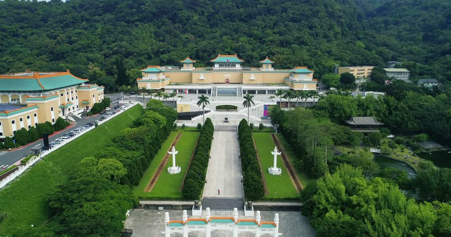 Aerial shot of Gu Gong National Palace Museum in Taipei, Taiwan