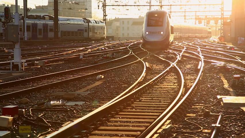 LYON, FRANCE - February 19, 2016: A highspeed TGV train entering Perrache station, Gare de Lyon-Perrache, Lyon. | Shutterstock HD Video #1012174829
