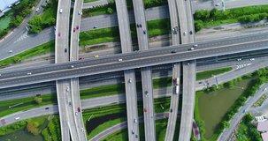 Aerial view, top down view of traffic jam on a car bridge. 4K video