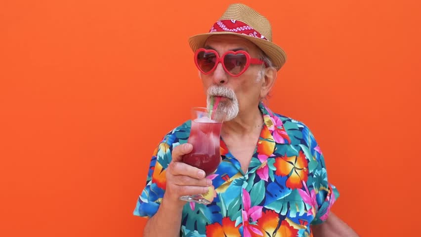 Grandfather funny moments on colored backgrounds #1012187372