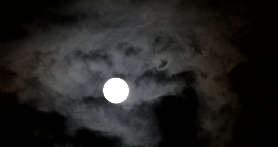 4k Real Time Full Moon In The Cloudy Sky   Shutterstock HD Video #1012200761