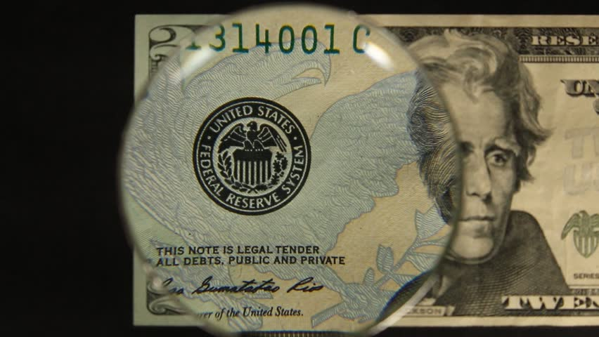 US 20 Obverse Art, Front Lit, Right To Left Movement, with subtle variation, Magnified, Federal Reserve Note.