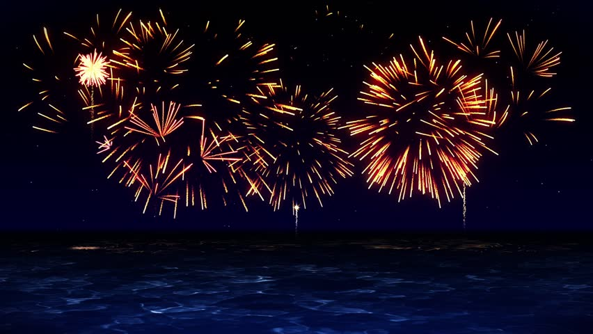 Colorful Fireworks Light Up the Sky, Over the Beach, CG Loop Animation, | Shutterstock HD Video #1012257518