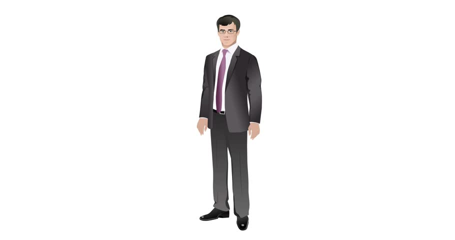 Business man on the isolated  background interview talking. Cartoon style animation. 4K. Loop | Shutterstock HD Video #1012269074
