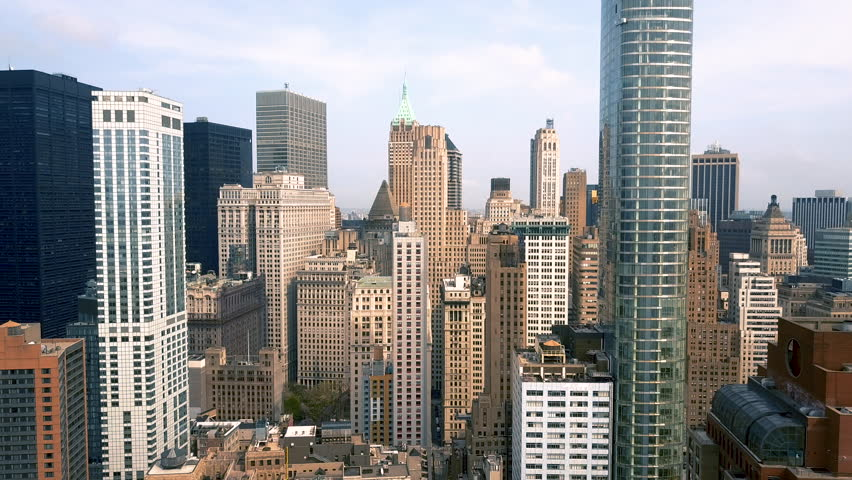 Aerial view of Lower Manhattan, financial and business district, New York City, USA. Drone shot.