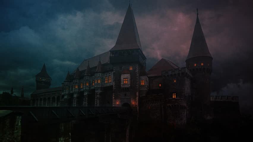 Transylvanian medieval castle on a storm evening   Shutterstock HD Video #1012278653