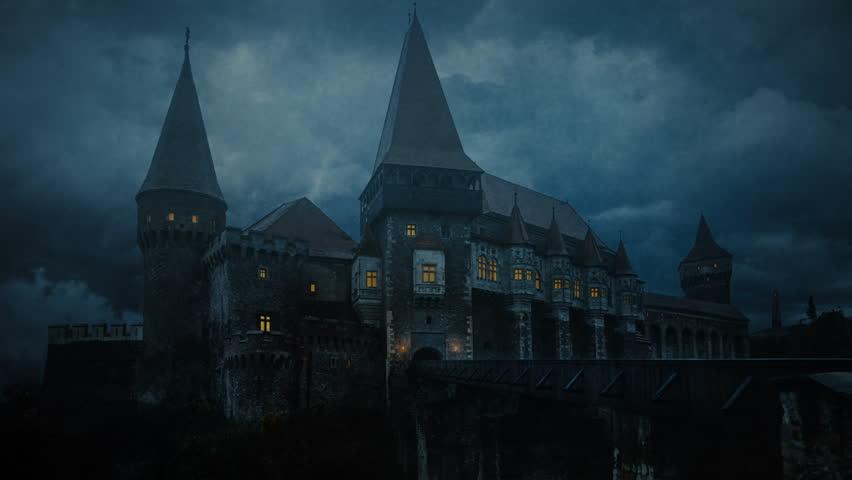 Transylvanian Castle in a stormy night   Shutterstock HD Video #1012278656