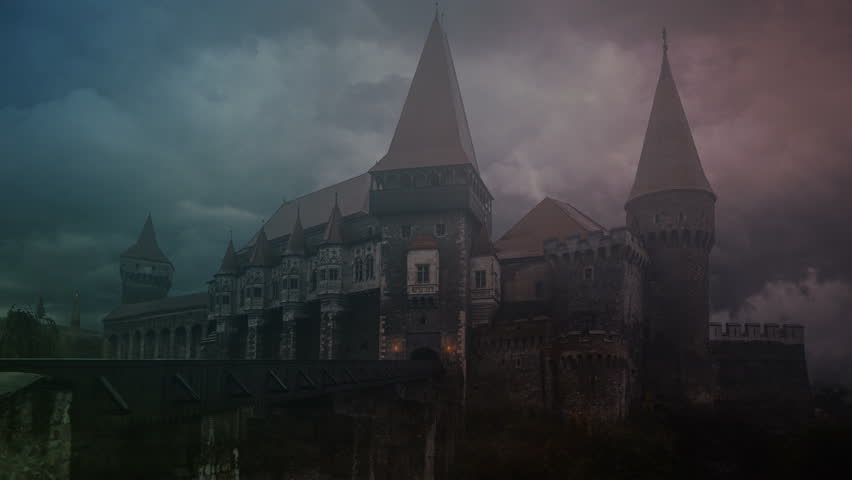 Transylvanian Castle during the storm   Shutterstock HD Video #1012278674