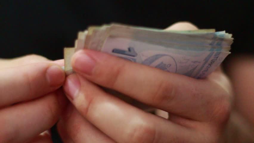 Businessman, counting money. Turkish lira. | Shutterstock HD Video #1012287818