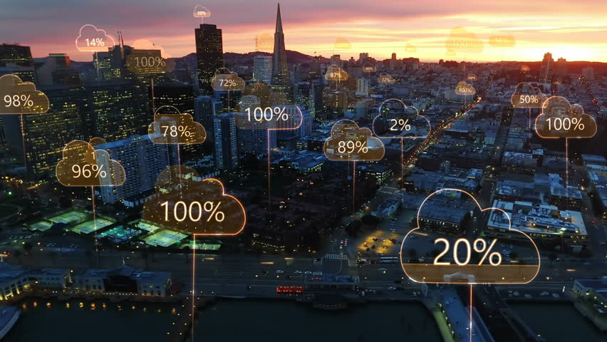 Aerial smart city. Network connections and cloud computing icons with percentages. Technology concept, data communication, artificial intelligence, internet of things. San Francisco skyline. #1012287962