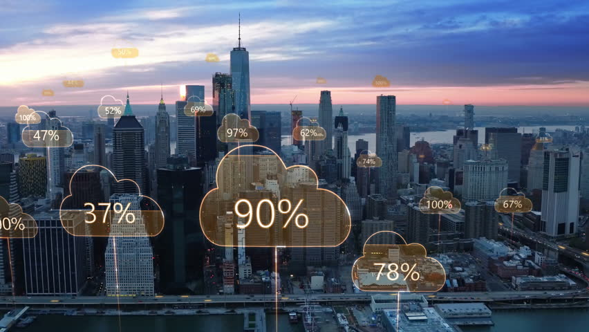 Technology concept, data communication, artificial intelligence, internet of things. Network connections and cloud computing icons with percentages. Aerial smart city. New York City skyline. | Shutterstock HD Video #1012287989