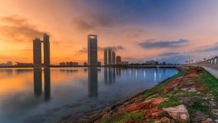 Abu Dhabi cityscape and skyline at a warm sunrise, Abudhabi, UAE