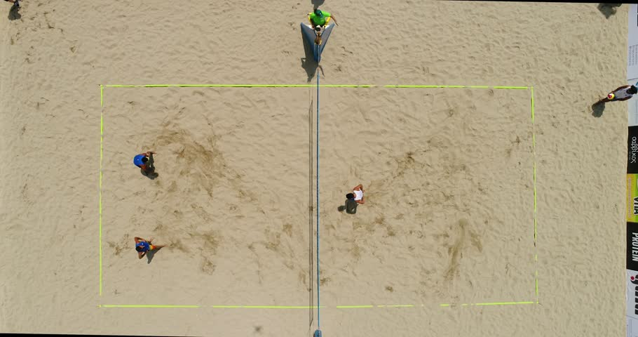 Thessaloniki - Greece June 8, 2018: Undefined players in action during the Hellenic championship Beach Volley Masters 2018 at Aristotelous square. Aerial shot