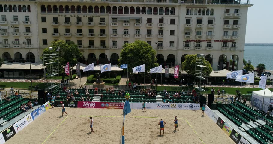 Thessaloniki - Greece June 8, 2018: aerial view of the stadium during the Hellenic championship Beach Volley Masters 2018 at Aristotelous square. Aerial shot
