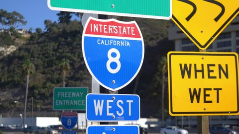 Interstate 8 overhead freeway sign in 4k slow motion 60fps