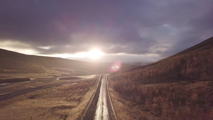 Cinematic shot at Sunset over road in Iceland | Shutterstock HD Video #1012302857