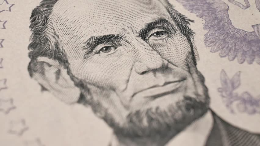Portrait 16th President of the United States Abraham Lincoln on The USA Five Dollar bill