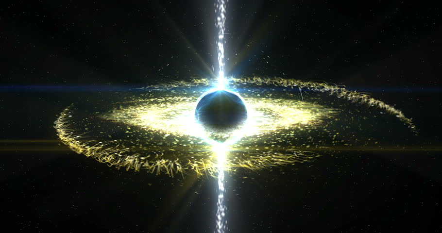 A black hole in space with gamma ray beams, ionised gas matter disk, and gravity distortion in spacetime. Royalty-Free Stock Footage #1012319120