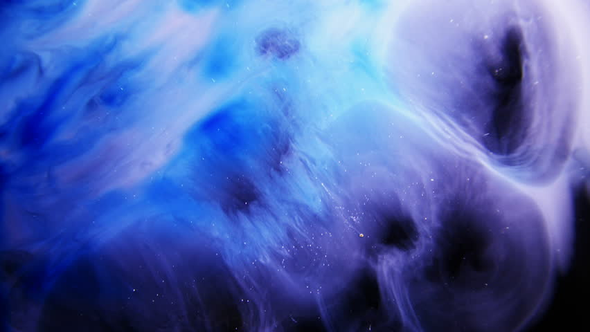Blue Colorful Ink And Paint Liquid Reaction / Cosmos Nebula background