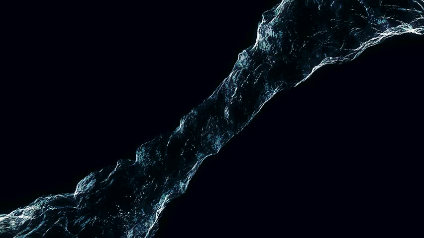 Flow liquid like water spins into a whirlpool or a tornado. The flow of liquid rotates and forms a vortex. Water swirl flowing on dark background. Water circle liquid looping on black background