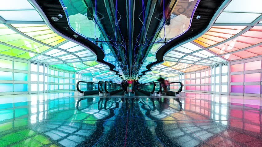 Chicago O'Hare Airport Terminal 1 Timelapse Video, Chicago, Illinois, June 2018