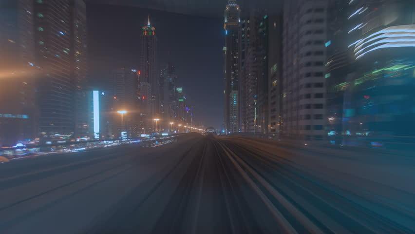 Metro Dubai night time lapse | Shutterstock HD Video #1012335659