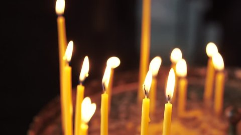 Candles on the bride's wedding ceremony. church Candles