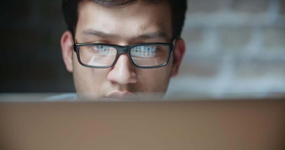 Young asian freelancer working at computer in office dollyshot 4k | Shutterstock HD Video #1012375199